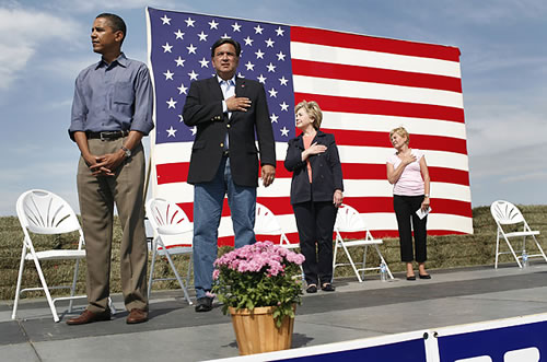 Obama Standing at Attention